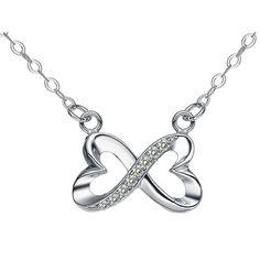 Chaomingzhen Rhodiniert 925 Sterling Silber Zirkonia Herz immer Liebe Anhänger Halskette Damen Kette