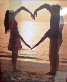 Heart couple beach