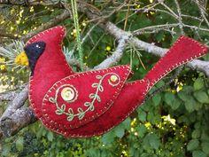 Wool Felt Cardinal Ornament/ Northern Cardinal/ Red Bird/ Wool Felt Bird Ornament by PatriciaWelchDesigns on Etsy