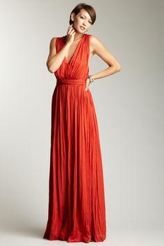 ADAM by Adam Lippes Back Weave Halter Dress dark coral orange