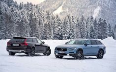 Volvo V90, Cross Country 2017, winter, wagon, blue V90, black V90, Swedish cars