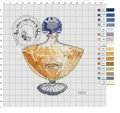 French Perfume cross stitch chart / pattern французские духи схема вышивки крестом