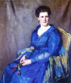 """Thérèse Schwartze (Dutch Painter) 1851 - 1918 portrait of Johanna ten Cate-Kortenbout van der Sluijs, 1912. ~ I love this for her: """"Well just EFF IT!"""", look about her and the vibrant colors, against the dour grey backdrop. ~"""