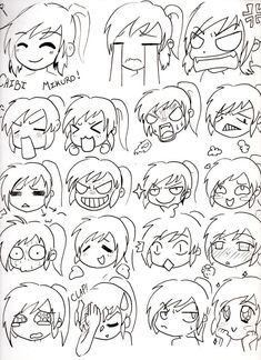 Draw Lesson: Draw you own Kawaii Chibi Manga Cartoon or Motion Draw.Here is How to draw Chibi Face Expressions. Chibi Mikuro Expressions by Mimi D Art Reference Poses, Drawing Reference, Hand Reference, Anatomy Reference, Kawaii Drawings, Easy Drawings, Cool Cartoon Drawings, Drawing Cartoons, Hipster Drawings