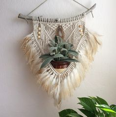 No. 9 / Imyourgypsy  Succulent holder macrame hanging plant agate feather art