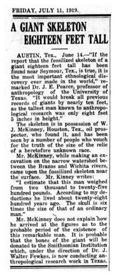 They might be giants! 18ft. tall giant human skeleton found by oil prospector J. Mckinney in Texas! -- Sott.net