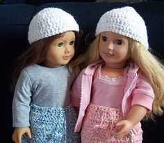 Crocheted hats and skirts for American Girl Dolls