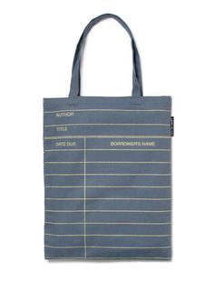 Library Card: Gray tote bag - by Out of Print