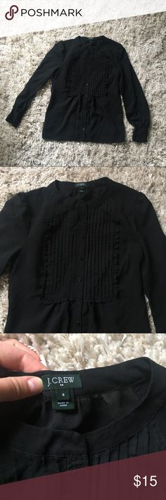 J. Crew Black sheer Button up Blouse- size 4. J. Crew Black Button up Blouse- size 4. Sheer material. Nice and airy feeling. Cute button accents. Bought new. J. Crew Tops Button Down Shirts