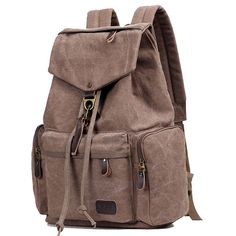 How nice Retro Flap Metal Lock Large Capacity Backpack Travel Backpack Canvas Men's School Rucksack ! I want to get it ASAP! Cycling Backpack, Diy Backpack, Backpack For Teens, Travel Backpack, Fashion Backpack, Rucksack Backpack, Backpacks For Teens School, Boys Backpacks, School Bags