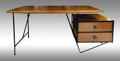 Rare Mid 20th Century American 'Vista of California' Wood / Iron Modernist Desk Designed by D.R. Bates & Jackson Gregory Jr. #Brighton #MCM #Atomic