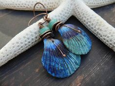 PreciousViolet : Artemis - wearable art polymer clay blue aqua green copper cockle shell earrings.