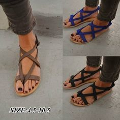 2e5a8dfb3 Summer Women New Fashion Sandals Casual Shoes Pinch Toe Sandals Flat Shoes  High Quality 3 Colors. Strappy FlatsFlat Gladiator ...