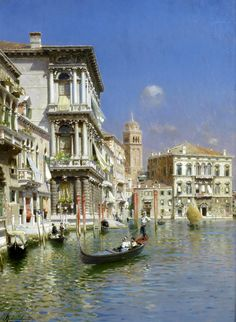 'In the Gondola, Venice' - Rubens Santoro (1859-1942)