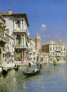 'In the Gondola, Venice' - Rubens Santoro (1859-1942)