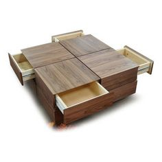 Modern walnut veneer square coffee table with drawers Soma Modern Square Coffee Table, Contemporary Coffee Table, Cool Coffee Tables, Coffe Table, Centre Table Design, Tea Table Design, Wood Table Design, Centre Table Living Room, Center Table