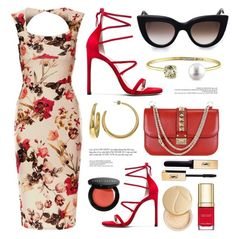 """Florals & Reds"" by luvsassyselfie ❤ liked on Polyvore featuring Bobbi Brown Cosmetics, Yves Saint Laurent, Dolce&Gabbana, Jane Iredale, gold and red"