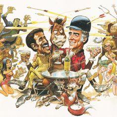 Original Comic Art titled 1970 - One more time - Sammy Davis Jr. + Peter Lawford etc. (Movie-poster in color - Large frame - American BV), located in Bernard's 03 - Covers Magazines, Prelim, Posters, LPs - Color Comic Art Gallery Jack Davis, Sammy Davis Jr, Peter Lawford, Large Frames, Caricature, Comic Art, Illustrators, Art Gallery, Superhero