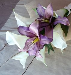 Real Touch Callas & Purple Lilies Bridal Bouquet ... Arm, Sheath... Destination Wedding. $125.00, via Etsy.