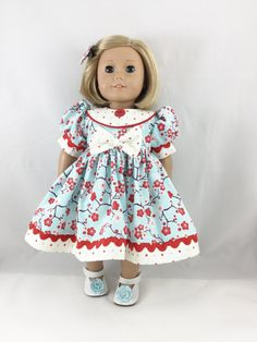 American Girl Doll and Other 18 Inch Dolls Short Sleeved Dress Aqua and Red Cherry Blossom Print with Dots Matching Hair Bow