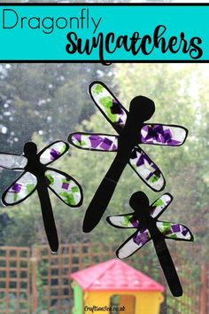 This cute dragonfly craft for kids is so pretty! Children love exploring the materials needed for suncatchers and they're great for fine motor skills too.