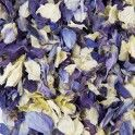 Natural Biodegradable Wedding Confetti Mixed Colour Petal Dried Flower Delphinium in Bag. The rose petals look gorgeous scattered over tables and beds, or across pathways and aisles, in flower girl's baskets and slow falling confetti for guests.