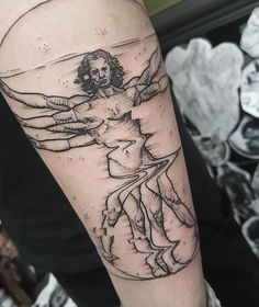 What a cool Vitruvian man tattoo