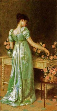 Arranging Pink Roses, De Scott Evans, 1891