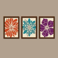 Orange Teal Purple Flower Burst Outline Dahlia Floral Bloom Artwork Set of 3 Prints WALL Decor Abstract ART Bedroom Bathroom Three Pink Wall Art, Wall Art Sets, Eggplant Bedroom, Bedroom Decor, Wall Decor, Bedroom Wall, Master Bedroom, Bedroom Colors, Art Mural Rose