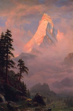 off Hand made oil painting reproduction of Sunrise On The Matterhorn, one of the most famous paintings by Albert Bierstadt. The painting Sunrise on the Matterhorn by Albert Bierstadt, painted in one year before the artist moved to Nassau,. Albert Bierstadt Paintings, Framed Art Prints, Fine Art Prints, Canvas Prints, Hudson River School, Mountain Paintings, Art Graphique, Romanticism, Landscape Art