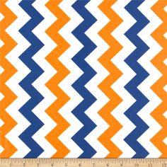 Riley Blake Laminate Medium Chevron Orange/Blue
