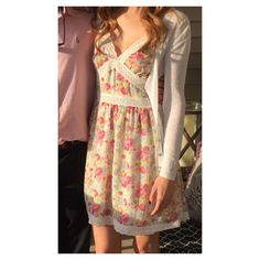 Betsey Johnson Pink Floral Eyelet Dress Perfect condition, only worn for Easter! Betsey Johnson Dresses Mini