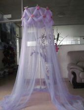 LILAC PURPLE ROSE EMBELLISHED PRINCESS BED CANOPY MOSQUITO NET NEW FREE SHIPPING