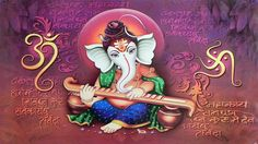 Lord Ganesha Playing Veena (Reprint on Paper - Unframed)