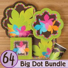 #Luau Tableware - 64 Big Dot Bundle