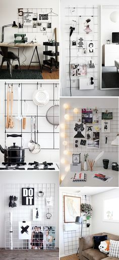 "These metal grid wall organizers are calling, ""Make me!"" They all look so good in these photos, but a big part of that is the expert styling. If I make my own, will I be able to curate it so perfectly? I guess we'll find out, since I'm to the point where I've been casually trawling …"