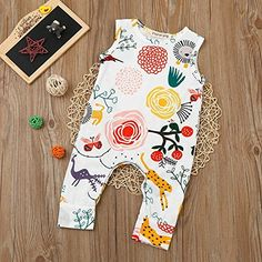 Happy kido Newborn Baby Girls Flower Animal Print Romper Bodysuit Outfits Spring Summer Tops (White, 6-12 Months)