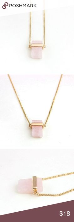 "✨NEW Listing✨Rose Quartz necklace Rectangular rose quartz set in 18k gold plated setting. Chain is 28"". Not interested in trades. II Jewelry Necklaces"