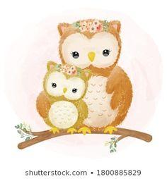 Cute Animal Illustration, Animal Illustrations, Illustration Mignonne, Cute Kawaii Girl, Baby Owls, Easy Drawings, Print Design, Pikachu, Hello Kitty