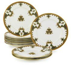 A GROUP OF TEN RUSSIAN PORCELAIN DINNER PLATES, KORNILOV BROTHERS MANUFACTORY, ST. PETERSBURG, CIRCA 1890 the borders with stylized Russian style ornament, stamped factory mark reading Made in Russia by Kornilow Brothers, and with 230 in red overglaze diameter 9 1/2 in., 24.1 cm