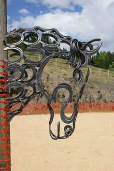 Horse head made out of horse shoes
