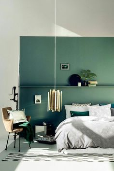 #2017ColorTrends #Green #Bedroom