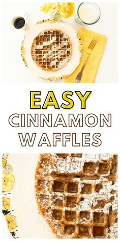 Easy cinnamon waffles are perfect for breakfast or brunch. They only take a couple of minutes to whip up then a few minutes to grill in the waffle maker. #cinnamonwaffles #waffles #easywaffles #quickwaffles #easywafflerecipes #breakfastwaffles #cinnamonrecipes
