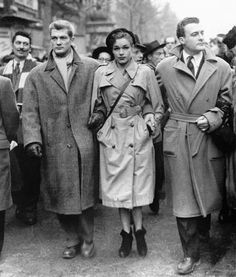 "1940to1949: ""  Jean Marais, Simone Signoret and Roger Pigaut, Paris, France, 1948 "" Stars of French cinema, Jean Marais (Left), Simone Signoret (Center) and Roger Pigaut (Right), head a protest march against a major influx of American films on French..."