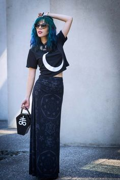 Killstar model, La Carmina wearing Goth Kill Star moon top and occult maxi shirt at UBC Museum of Anthropology. All the details at http://www.lacarmina.com/blog/2014/08/killstar-goth-fashion-outfit-post/  kill star model, fashion blogger