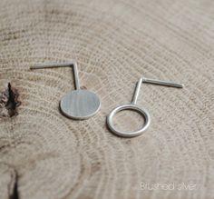 Silver Asymmetrical earrings geometric circle Moon circle door AgJc