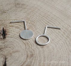Silver Asymmetrical earrings geometric circle Moon circle by AgJc