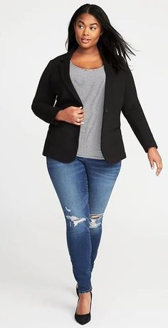 Plus Size Blazer - Plus Size Fashion for Women Plus Size Clothing Stores, Plus Size Womens Clothing, Clothes For Women, Clothing Sites, Clothes Sale, Clothing Patterns, Curvy Outfits, Casual Outfits, Fashion Outfits
