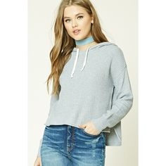 323ece812 Forever21 Ribbed Dropped-Sleeve Hoodie ($23) ❤ liked on Polyvore featuring  tops,