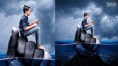 Fishing with underwater scene photo manipulation   Photoshop tutorials
